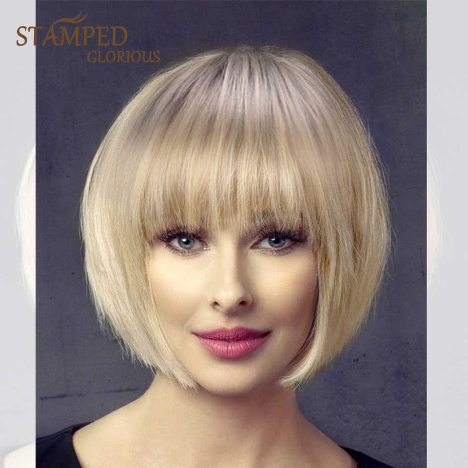 Stamped Glorious Straight Short Wig Ombre Black Blonde Wig Synthetic Cosplay Wig for Women Heat Resistant Fiber Hair