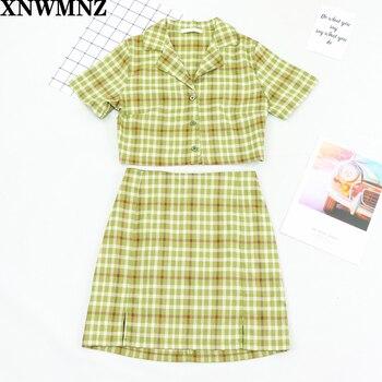 XNWMNZ Plaid Summer blouse women vintage crop shirt streetwear plaid ladies tops elegant button up shirt korean crop top 2020 za knot back plaid crop top