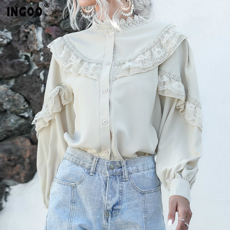 INGOO Elegant Lantern Long Sleeve Chiffon Shirt Women Spring Casual Lace Ladies Tops Vintage Button White Apricot Ruffle Blouse