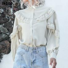 INGOO elegancka latarnia szyfonowa koszula z długim rękawem kobiety wiosna na co dzień koronkowe bluzki damskie Vintage Button biała morelowa bluzka z falbanami tanie tanio COTTON spandex REGULAR STAND WOMEN Ruffles Pełna Latarnia rękaw Stałe Elegant Lantern Long Sleeve Chiffon Shirt