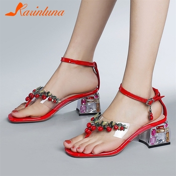 Karinluna New Design 2020 Genuine Cow Leather Casual Shoes Woman Sandals Female Buckle Strap Chunky Heels Summer Sandals Women