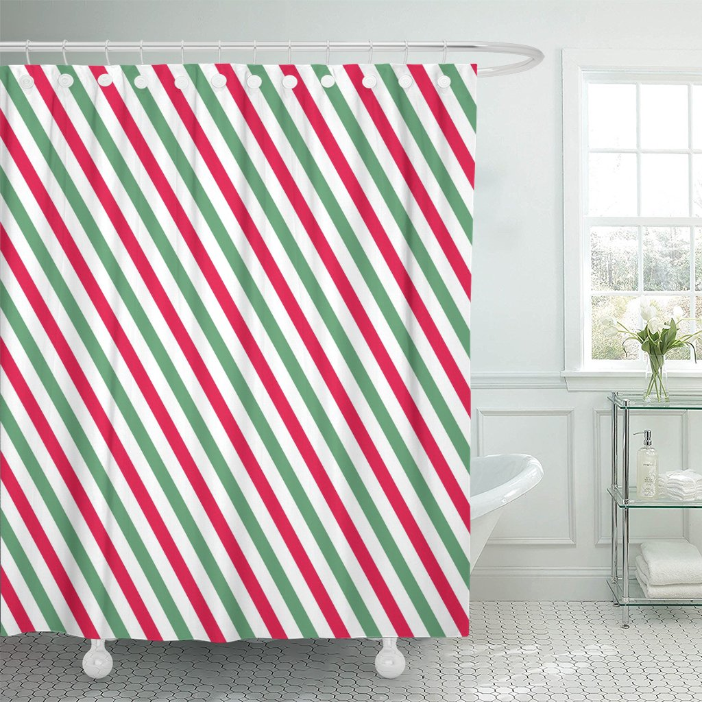 Us 9 52 23 Off Abstract Pink Green Stripes On White Striped Diagonal Pattern Of Christmas Winter Geometric Band Shower Curtain Polyester 72 X 7 On
