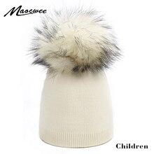 Детские шапки; Детские шапки с помпонами; вязаная шапочка «кроше»; Теплая Мягкая шерстяная шапка с помпонами из натурального меха енота; сезон осень-зима