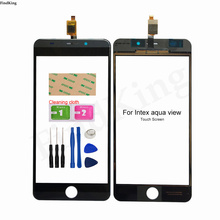 Mobile 5.0'' Touch Screen For Intex Aqua View Digitizer Panel Front Glass Lens Sensor TouchScreen Tools 3M Glue Wipes