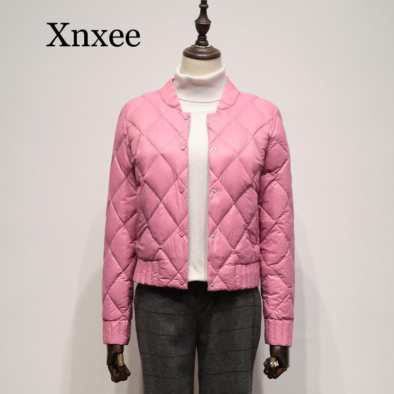 Ultra Light White Duck Down Jackets Autumn Winter Women Plus Size 3XL O Neck Coat Slim Short Warm Down cotton coat warm