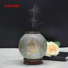 120ML Mist Maker Air Humidifier Aroma Essential Oil Diffuser Ultrasonic Electronic Handmade Iron Home SPA LED Lights