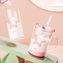 Szklany kubek na wodę dla dzieci kubek dla maluchów ze słomką szczelny królik butelka mleka dla dzieci