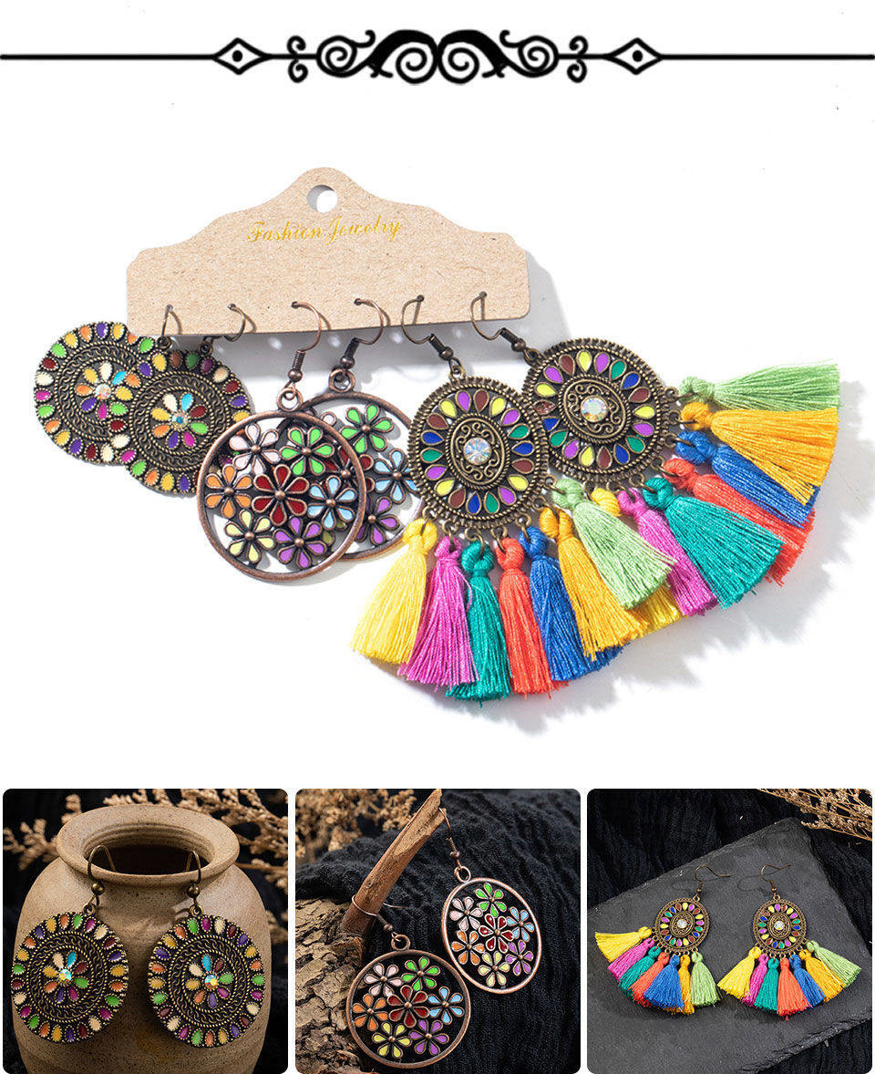 H2ed05d911acf41f4907a65cedd74332a6 - Multiple Women's  Boho Ethnic Drop Earrings