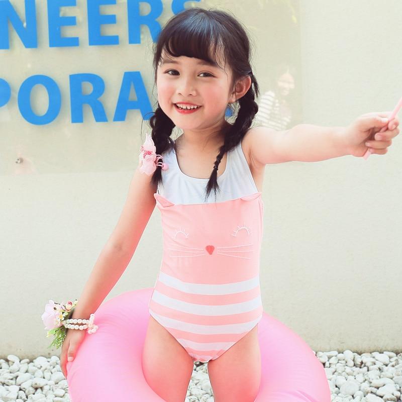 2019 New Style KID'S Swimwear Big Boy Pink And White Stripe Cat Cute GIRL'S One-piece Hot Springs Swimwear