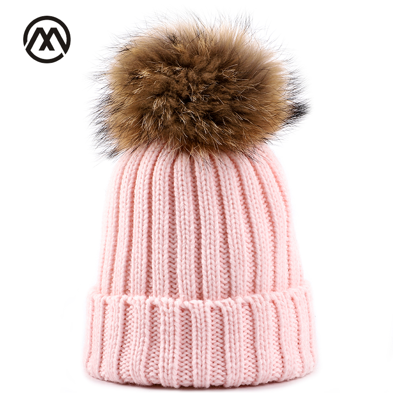 2019 New Real Fur Pom-pom Hat Solid Color Striped Ladies Knit Hat Winter Warm Woman Winter Hat Casual Bean Bean Pompom Ski Mask