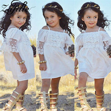 ZAFILLE Summer Dress Baby Girl Clothes White Off Shoulder 2020 Lace Toddler Kid Cute Girls Clothing