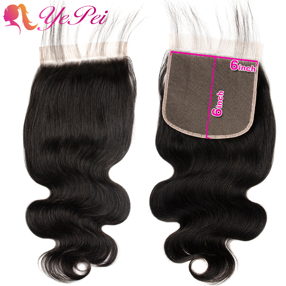 6x6 Lace Closure Body Wave Human Hair Closure Free Part With Baby Hair Remy Peruvian Hair 8-24 Inch Natural Color Yepei