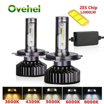 Ovehel H7 LED ZES 12000LM Canbus H4 Led Headlight H11 H8 H1 H3 HB3 9005 9006 LED HB3 Headlight  Car Light 72W 80W 6000K 12V 2 pcs car led headlight kit h4 h7 led 9006 9005 h1 h3 h11 80w 6000k 12000lm csp chips for seat ibiza leon altea toledo arosa
