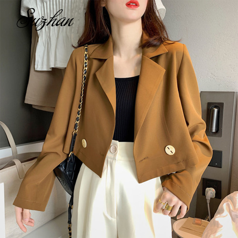 Suzhan Office Ladies Casual Blazer Long Sleeve Loose Suit Coat Jacket Women Blazers Female plus size blazer feminino jacket 2020