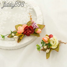 Artificial Flower and Leaf Hair Comb Boutonnieres Bride Wedding Headwear Greenery Floral Headpiece Accessories
