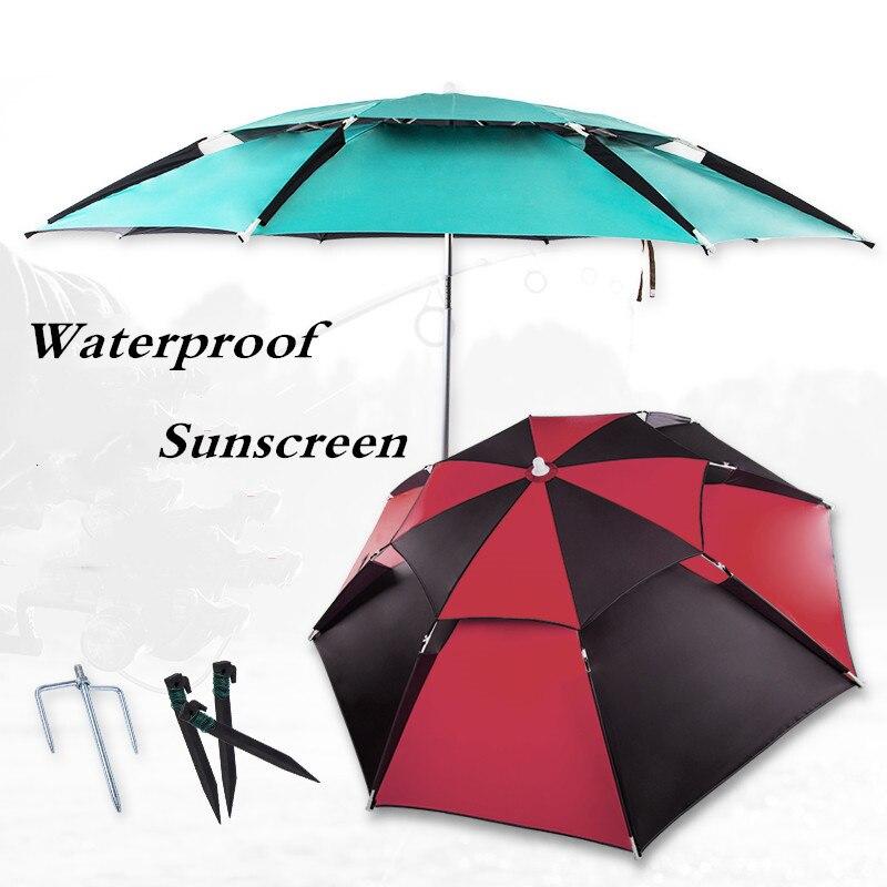 Foldable 2-2.2m Sunscreen Rainproof Fishing Umbrella Outdoor Camping Beach Sun Protection Awning Waterproof Fishing Supplies