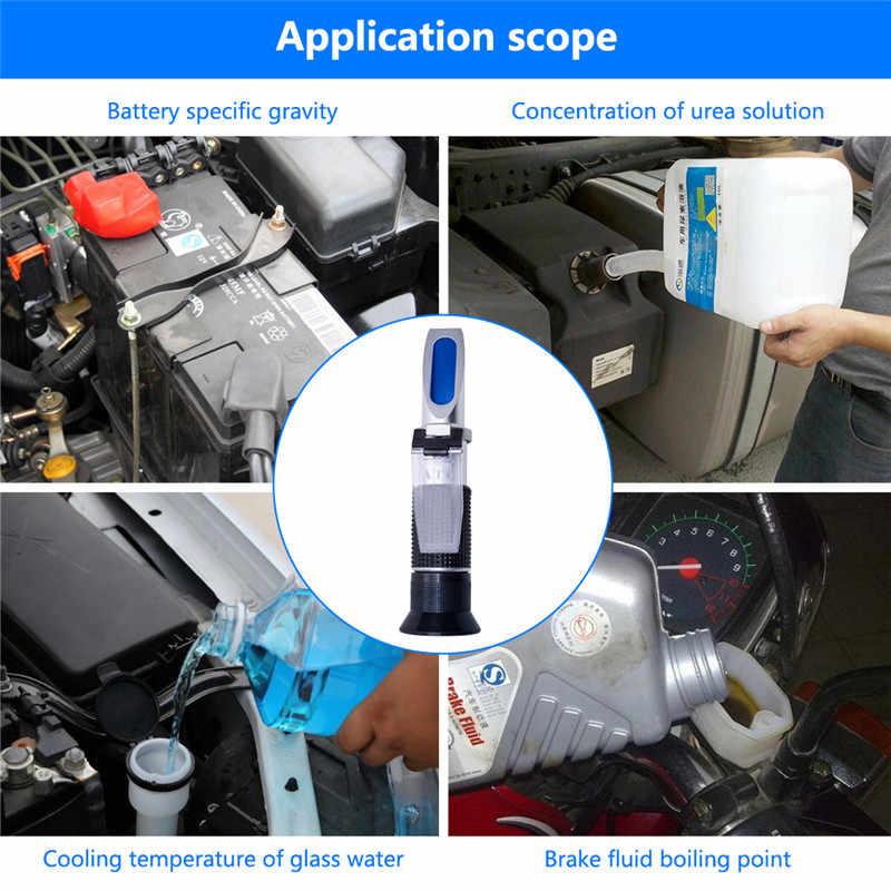 Yieryi ręczny Tester narzędzie 4 W 1 silnik płyn glikol przeciw zamarzaniu punkt zamarzania akumulator samochodowy refraktometr W ATC z pudełkiem