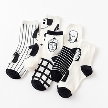 Cotton Cartoon Cute Socks Long Letter Harajuku Woman Ladies Thick White Black Striped Funny for Female