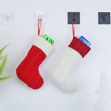 1pc Happy New Year Gift Bag Santa Claus Christmas Socks Red White Knitted Tree Ornaments