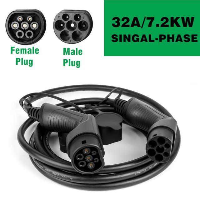 EV 충전 케이블 32A 7.2KW 전기 자동차 충전기 EVSE 코드 유형 2 암 수 플러그, IEC 62196 2 5M