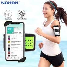 NOHON חדר כושר ספורט Armband Case ריצה נייד טלפון זרוע להקת מהיר מנעול ספורט טלפון מחזיק עבור iPhone 11 פרו X xs XR 8 7 בתוספת 6S