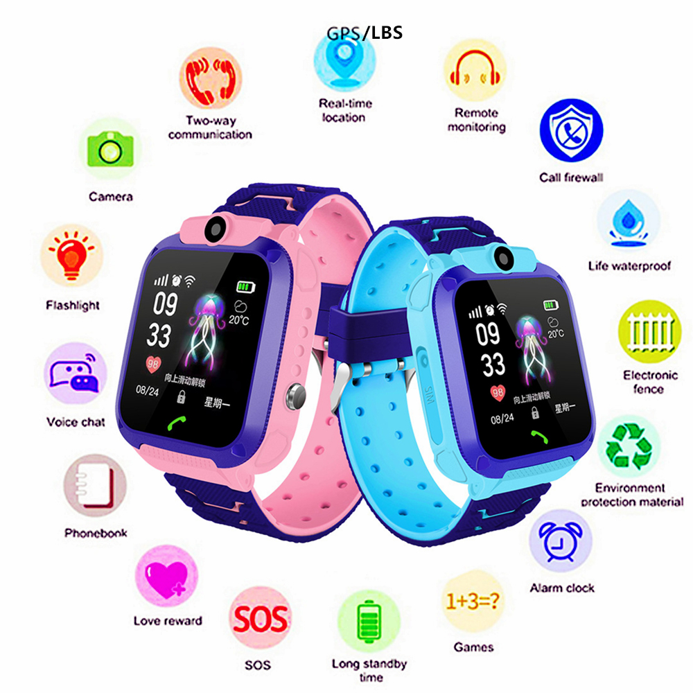 Hands Smart Watch Phone for Kids SOS Call Loud Speaker Flashing Light Russian Spanish Clock Free Shipping to Brazil Wristwatch