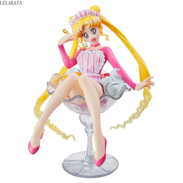 Cosplay sailor moon Pretty Guardian sakura Tsukino Usagi 20th Anniversary Limited Wine Glass Ver. Ice Cream action figure Doll