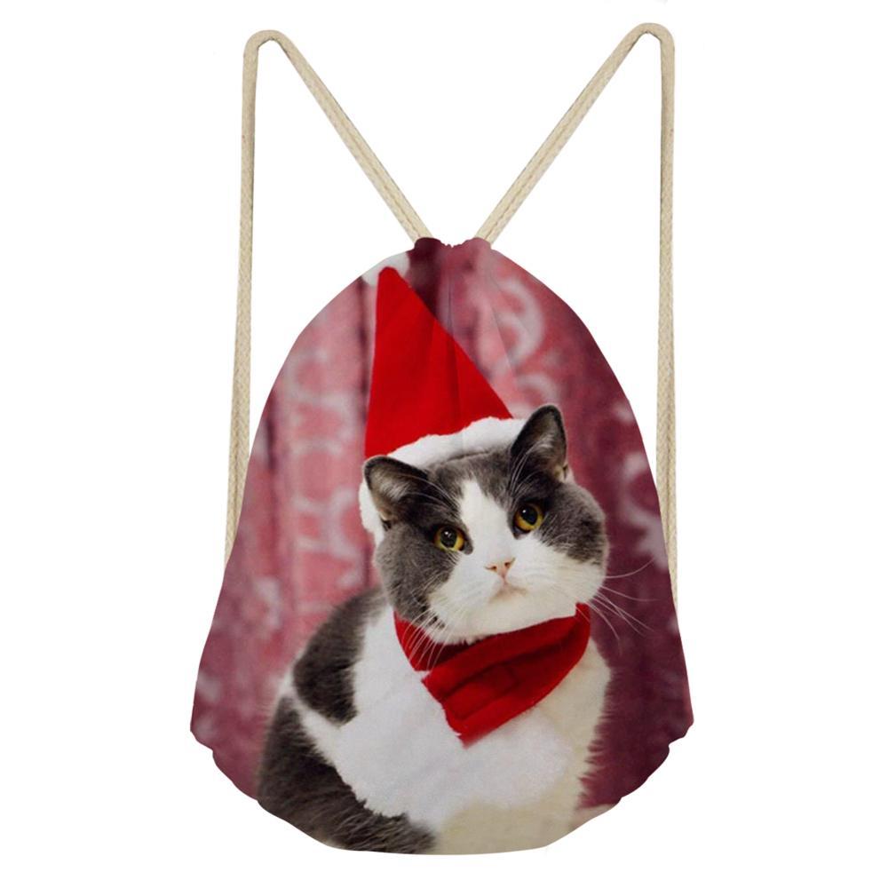 Drawstring Bag 3D Christmas Cute Cat Animal Print Multifunctional Draw String Bags Gym Sack Storage Bag Boys Girls Backpack