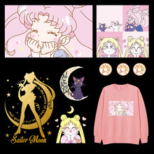 DIY Anime Cute Sailor Moon Patches For Clothing Iron on Transfers Vinyl Sticker For Kids Girls T-shirt Dresses Thermal Transfer