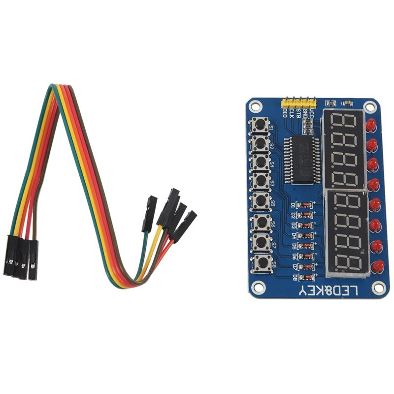 1pcs blue TM1638 button LED display module 8 bit digital LED button for Arduino 51 with 5pcs 20cm DuPont line Module pin col in Replacement Parts Accessories from Consumer Electronics