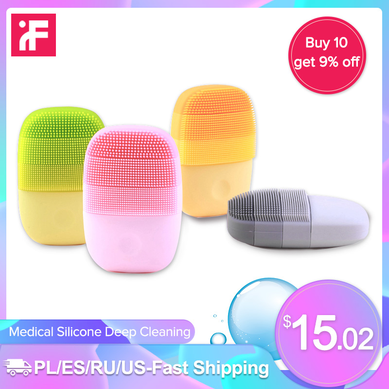 InFace Sonic Facial Cleansing Brush Smart Timing IPX7 Waterproof Silicone Electric Massage Wash Face Care Cleaner USB Charging