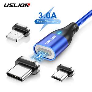 USLION 3A Magnetic Cable Micro USB Type C Fast Charging For iPhone 11 Samsung Chargers Magnet Fast Cable USB C Data Cord Adapter