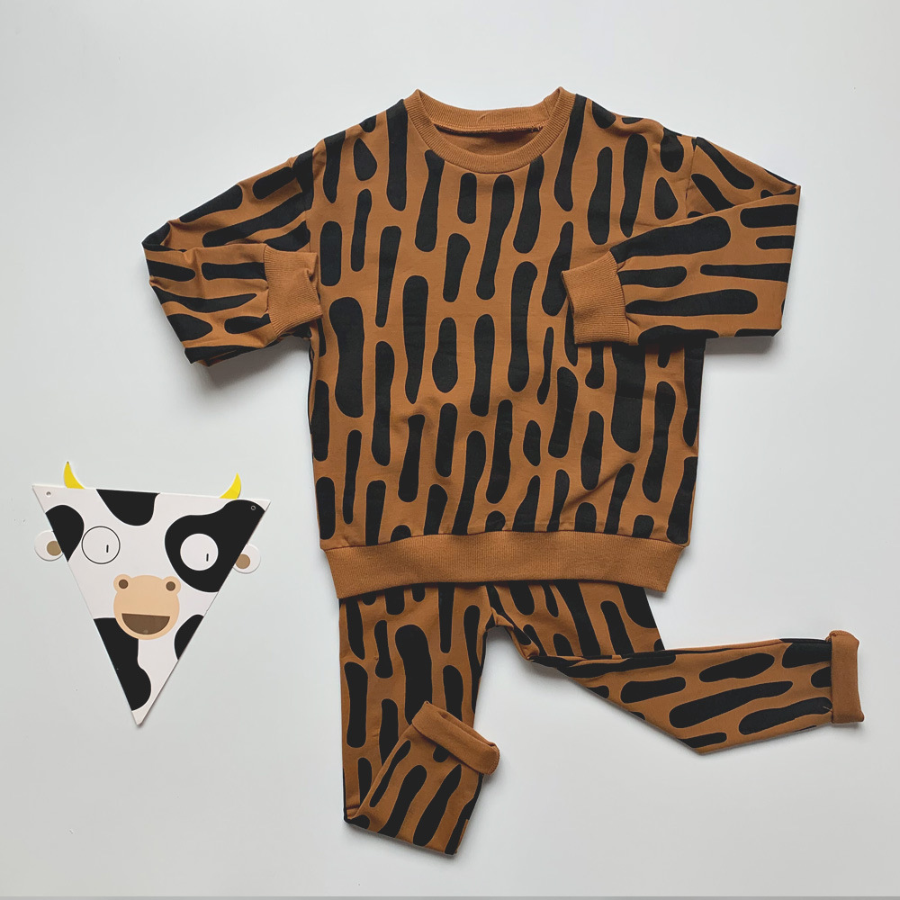 Kids Clothes Sets 2021 New Spring Long Sleeve Leopard Sweatshirt Boys Pants Set Stylish Trends Baby Girls Clothing Sport Outfit 6