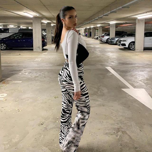 Zebra Print Wide Leg Pants  3