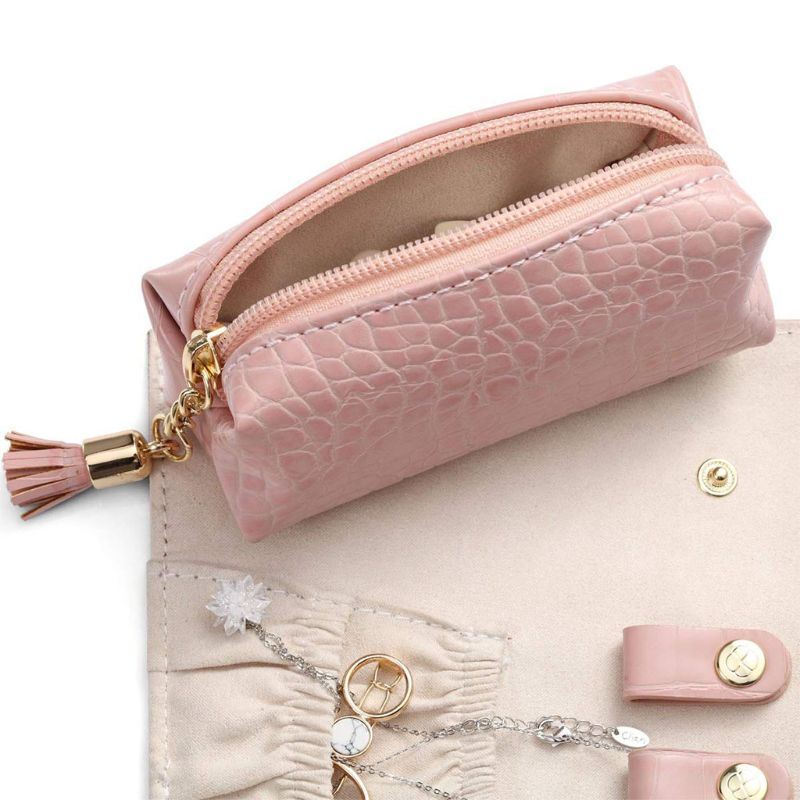 Portable Daily Jewelry Travel Organizer Roll Up Bag Case Storage Holder 35EF