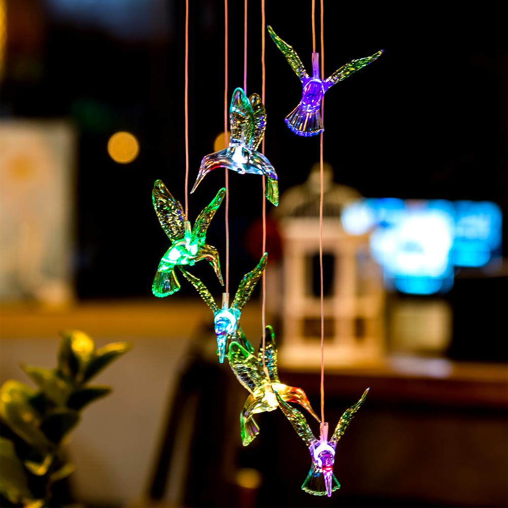 New Humming Bird LED Solar Light Romantic Windbell Lights Wind Chime Light String Lamp Color Changing For Patio Yard Decor