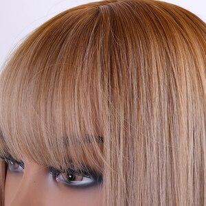 Image 5 - Perruques synthétiques lisses sans colle longue couleur noire, brune ombré, perruque de Cosplay en Fiber de haute température pour femmes noires/blanches