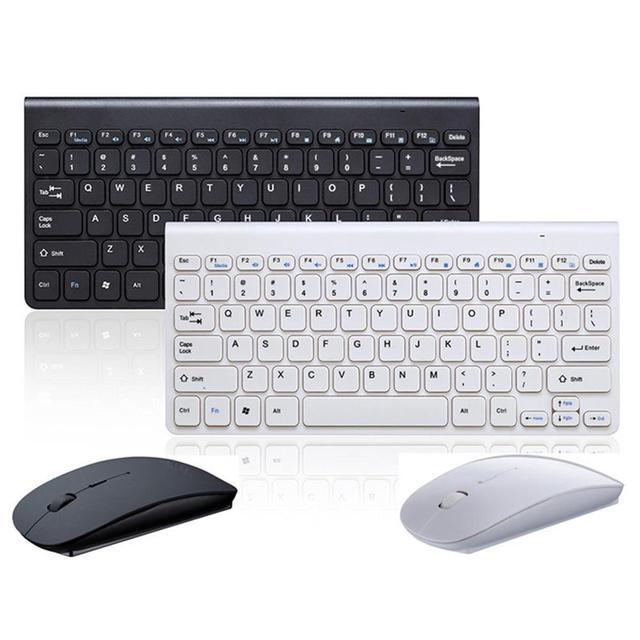 2.4 Ghz Draadloze Toetsenbord En Optische Muis Zwart Wit Kleine Stijlvolle Muis Set Mini Toetsenbord Voor Games Kantoor Entertainment