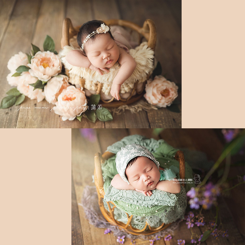 New-born photography props new retro rattan woven round cane basket lying on the container baby photos decoration
