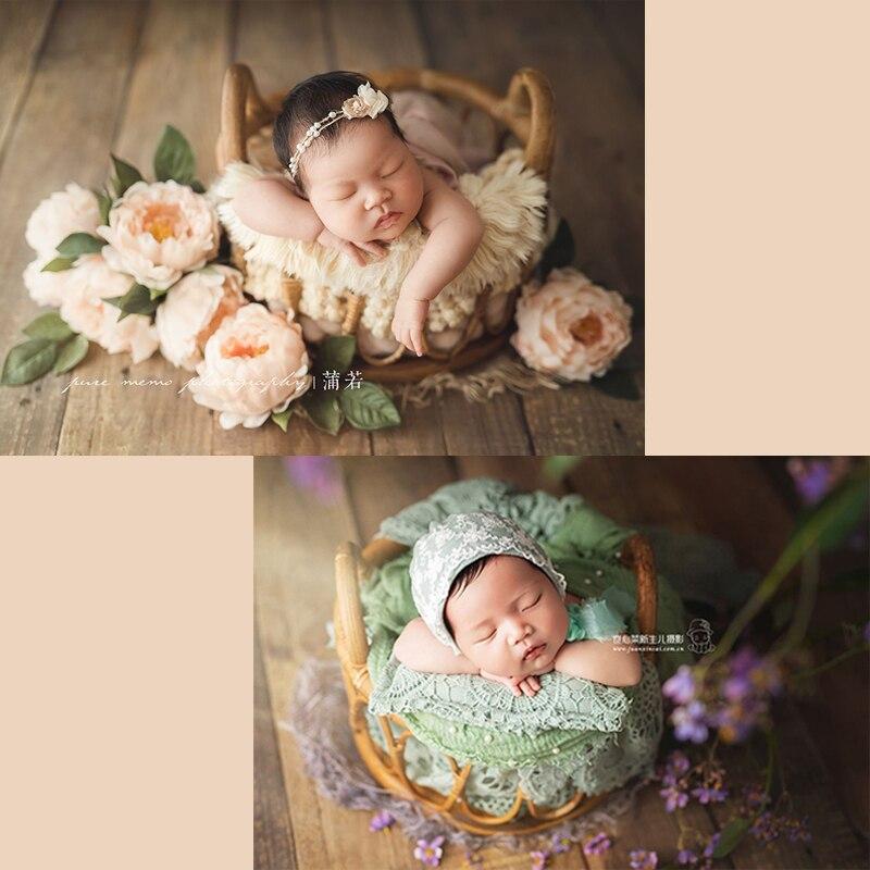 Nouveau-né photographie accessoires nouveau rétro rotin tissé rond canne panier couché sur le conteneur bébé photos décoration