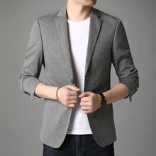 Men Suit Jackets Blazer Americana Long-Sleeve Knitted Gray Fashion Young Autumn Masculino