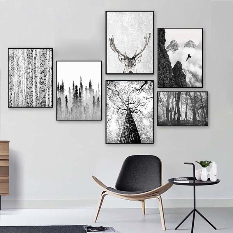 Escandinavo Floresta Veados Águia Preto Branco Cartaz Minimalista Nórdico Cópia Da Arte Da Parede Da Paisagem Da Lona Pintura Imagem Sala de estar