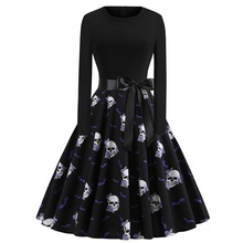 Black Skull Print Halloween  Dress Halloween Costume Woman Long Sleeve O-neck Retro  Scary Costume Carnival Night Party Costume big bowtie woman beach flip flops summer sandals slip resistant slippers platform sandals size 34 40