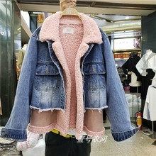 цена на Denim Fur Jacket Women Autumn Winter Warm Short Jacket Overcoat Girls Lady Imitation Lamb Hair Patch Denim Coat Cotton Padded