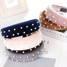 Fashion Padded Headband with Pearl Hairband Sponge Womens Bands Velvet Hoop Hair Accessories