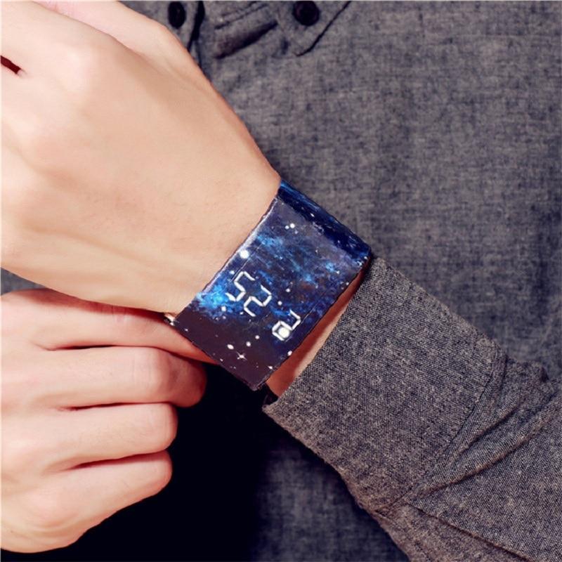 Водонепроницаемые часы с бумажным ремешком, красивые светодиодсветодиодный часы, креативные цифровые часы с бумажным ремешком, спортивные...