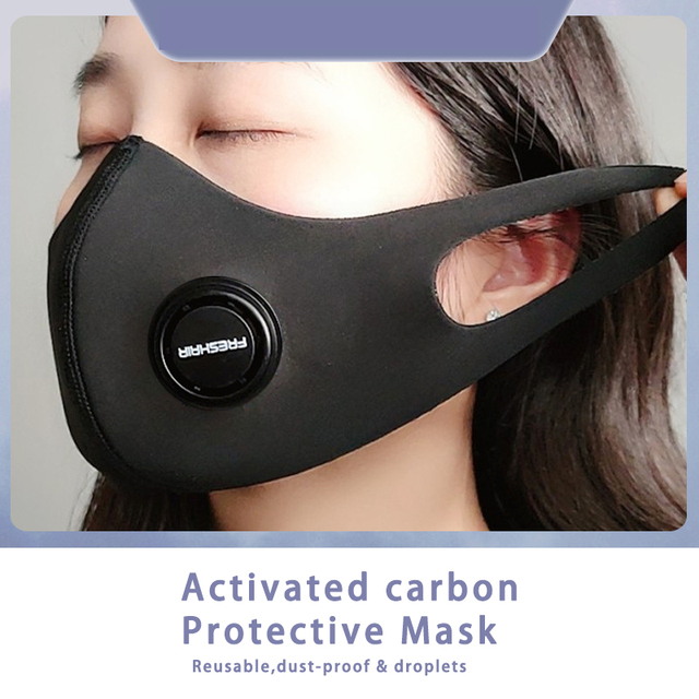 Unisex Dust korean Black Safety Face Mask with N95 Filter Breathable Activated Carbon Respirator Mask for anti dust Anti Flu 5