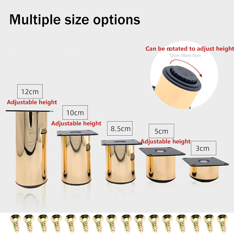 4Pcs Dia.50mm Rose Gold Furniture Feet Leg With Leveling Feet Bath Cabinet Cupboard TV Cabinet