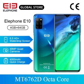 Перейти на Алиэкспресс и купить ELEPHONE E10 4GB 64GB смартфон 6,5 ''в виде капли воды, Экран 48MP Quad камеры заднего MT6762D Octa Core 4000 мАч Android 10,0 NFC