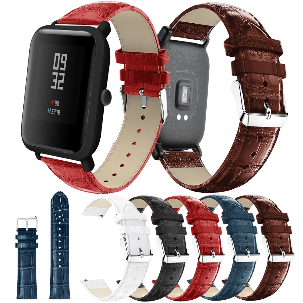 Genuine Leather Strap For Amazfit Bip Strap Band For Huami Amazfit Pace Stratos 2 Bracelet For Amazfit Gtr 47mm 42mm Watch Band